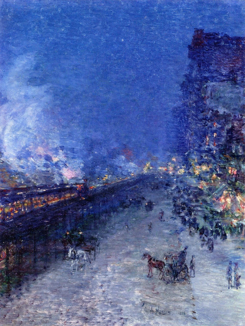 "dawnawakened:  Frederick Childe Hassam, Sixth Avenue El - Nocturne (also known as The El, New York) 1894  ""Hassam, who had shown an early promise for art, escaped the life of an accountant after mere weeks at that career. He trained as a draftsman in wood engraving, but quickly moved to watercolors and subsequent work in illustration. His studies in Paris at the Académie Julian left minimal impact on his art, as he was far more interested in that which the Impressionists were at. Though he didn't consider himself an Impressionist, he is best known for a similar use of color, light and brushwork."" - Art History"