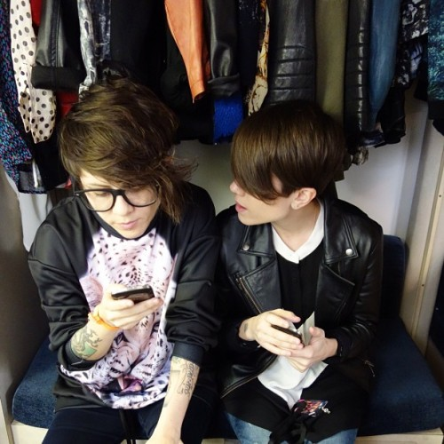 teganandsara:  There is so much clothing in this dressing room there is barely room for us!  No bigs, just my wife on the left