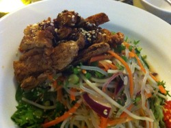 Crispy strips of tofu and vermicelli salad makes up a delicious vego meal!