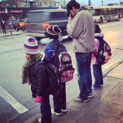 A man taking his kids to school. #candid #morning #strangers #family #people #man #father #kids #igdaily #photoaday #igchicago #igerchicago