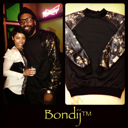 Bondij leather and gold sweatshirt spotted in Chicago :-)