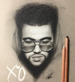 chrisherreraart:  Sketch of Abel aka The Weeknd for a friend whos birthday is coming up. Charcoal and chalk pastels on Toned Gray paper. 9x12in. 3.5 hours  If you know me you know that hes one of my favorite artists. So this was fun :)