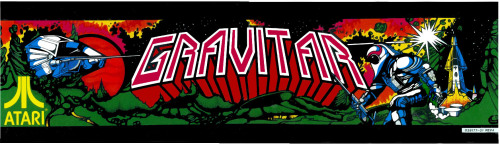 Gravitar (1982) arcade marquee by Atari. They wanted to make a combination between Lunar Lander and Asteroids.