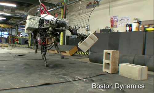"thisistheverge:  BigDog 'mule' robot wreaks havoc with herculean throwing arm Boston Dynamics' BigDog rough-terrain robot just got even more terrifying, with the addition of a front-mounted arm that lets it toss around cinderblocks like soda cans. To get the job done, the 240-pound quadruped uses the same approach as human athletes, recruiting the strength in its legs and torso to power the throw.   Just make sure you're not standing right in front when it says, ""Fetch!"""