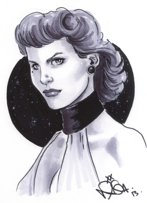 Here's my own con sketch by Nicola Scott from Supanova weekend: Sally Jupiter, the Silk Spectre! Inspired by the cosplay of Tally Smith from Wondercon a few weeks ago (not to mention the fact that Dave Gibbons was also a guest).  (photo by Joits) To use some Aussie sports vernacular, I think Nicola really hit it for six with this one.