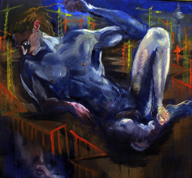 houndeye:  Rainer Fetting (German, b. 1949), Ole vor Potse (Potsdamer Platz), 1998. Oil on canvas, 230 x 250 cm.