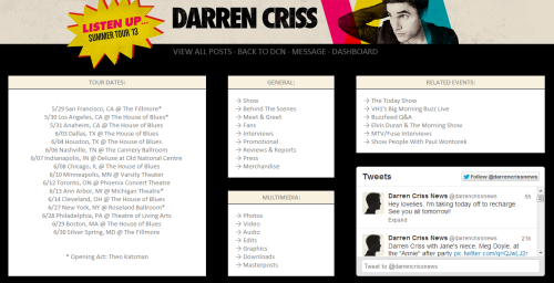 "DarrenCrissNews.com/ListenUp Just like I did last year with ""How to Succeed in Business Without Really Trying""I made a tag page for Darren Criss' upcoming ""Listen Up"" tour."