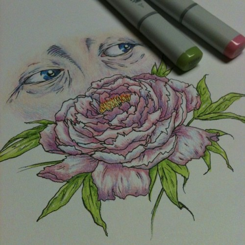 Here, have some sad eyes smelling a peony, because that's what eyes do when they're sad.