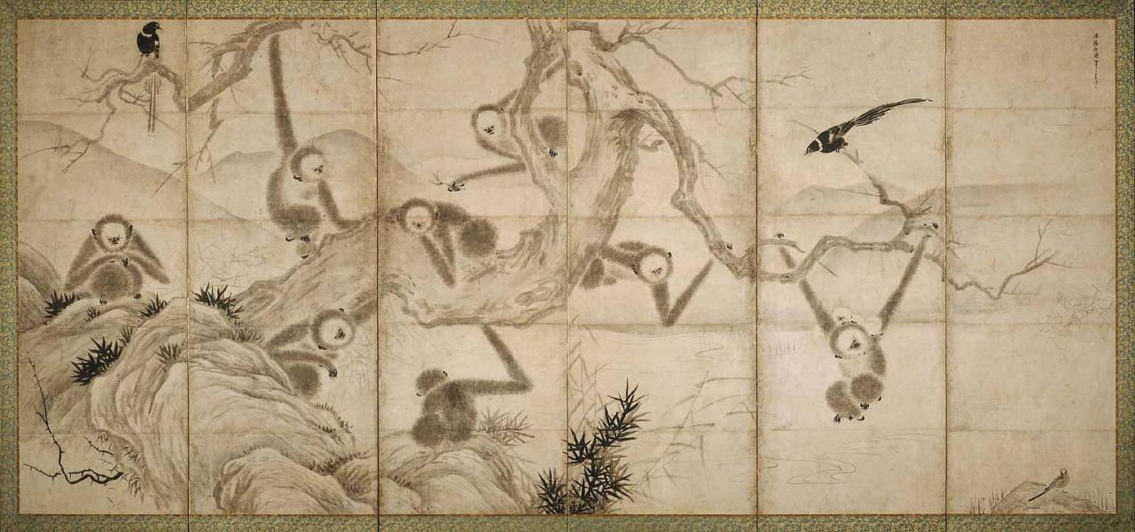 medieval:  Monkeys In Trees by Sesshū Tōyō.  Muromachi period.  15th C.