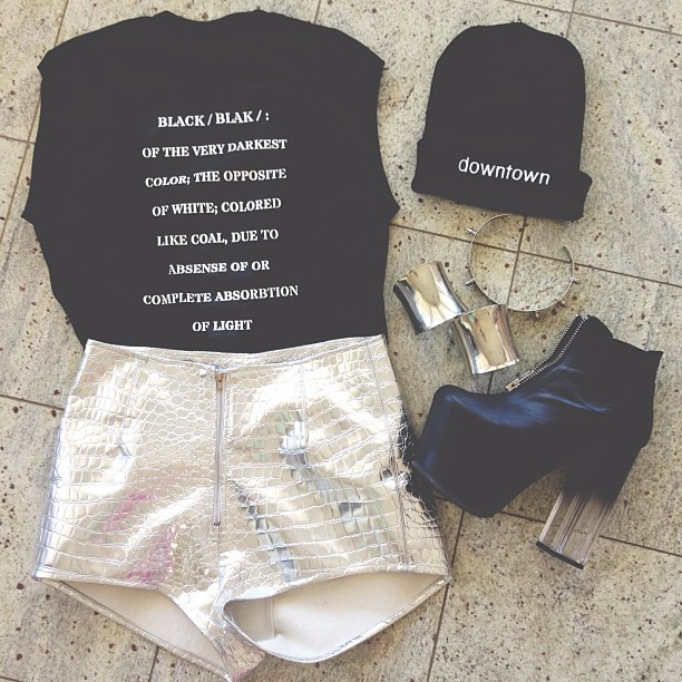 dirtylittlestylewhoree:  Today's #ootd wearing my new blak tee and #dtbeanie by @10thtribe with my metallic high waist @shoptunnelvision shorts and @unif das boots, and jewelry from asos. I'll have a blog post up later!