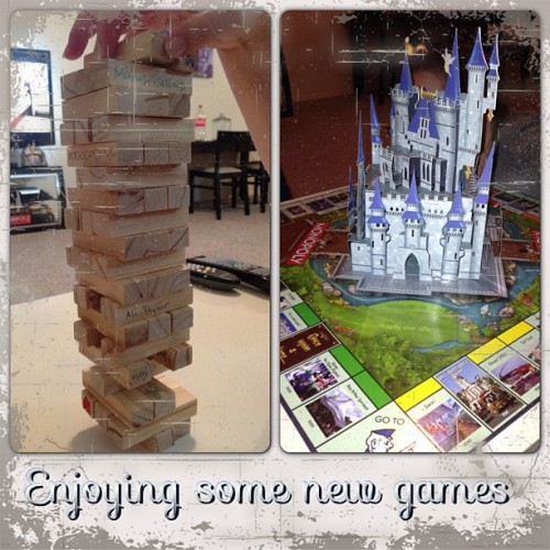 Having a fun game night with our new games! The Jenga set that people sighed at our wedding and a Disney Monopoly. And yes there is a castle in the middle!! @knmccune  (at Camden Doral Villas)