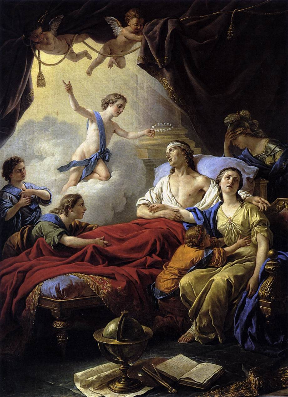 LAGRENÉE, Louis-Jean-François [French Neoclassical Painter, 1725-1805] Allegory on the Death of the Dauphin1765Oil on canvas, 129 x 97 cmMusée National du Château, Fontainebleau