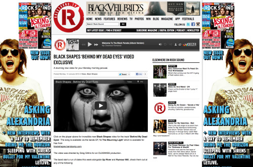 "This Monday we were privilaged to have Rocksound run an exclusive feature release for the video we just filmed and directed for the band Black Shapes and their latest single Behind My Dead Eyes from their EP ""In The Mourning Light""."