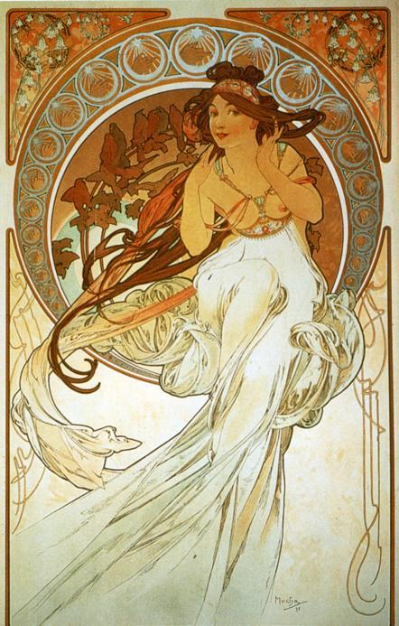 jedodedo:  The arts series of Alphonse Mucha (1898)(1) Dance, (2) Music, (3) Painting, & (4) Poetry.