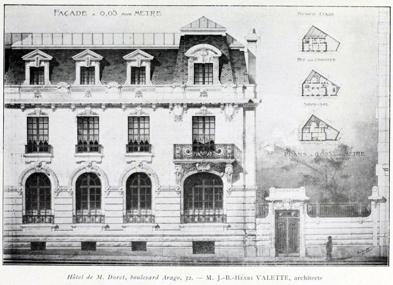 Elevation of the Hôtel for M. Duret on Boulevard Arago, Paris