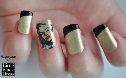 Marilyn Monroe nails for LittleBlackDress.co.uk! I painted a stencilised version of Marilyn with a sexy red pout over a gold base coat for a different approach to Valentine's Day nails. I figured that hearts and cupids are not for everyone, and some women may prefer an understated nod to the occasion without going for the classic, lovey-dovey symbols. I chose Marilyn as she exudes sex appeal and has become an icon of glamour and seduction, so I think she suits a Valentine's Day theme quite nicely :)Click here or on the photo to see the post, and my other new design - Funky Hearts :) Happy Valentine's Day everyone xx