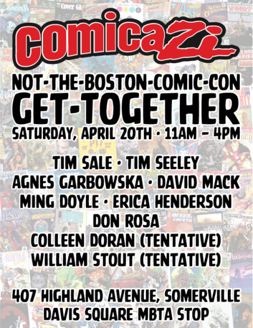 Boston comic fans! Tomorrow, 11 AM - 4 PM, at Comicazi in Davis Square on the Red Line! Come see us!
