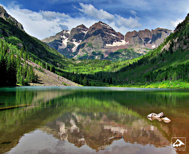 falseparsley:  Maroon Lake Reflection - Elk Mountains, Aspen, Colorado by isaac.borrego on Flickr.