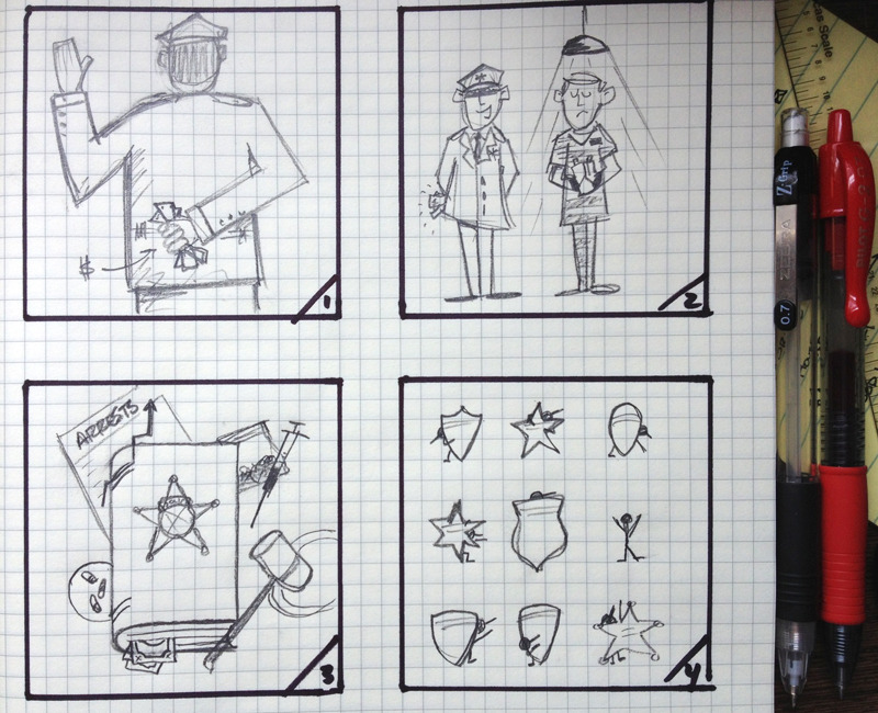 Concepts for article about police lying under oath