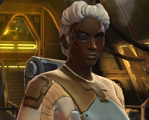 so i finally downloaded the free to play option for swtor (haven't touched the game since the beta, lol) as limited as the character creation is in terms of facial features, i think i managed to make my cyborg bounty hunter lady pretty cool lookin', heh. her name is Vasir since I just replayed lotsb. too bad jen hale only voices the trooper storyline (it is much more boring than the bounty hunter) is anyone else playing this silly game? we could uh go on quests together i guess?