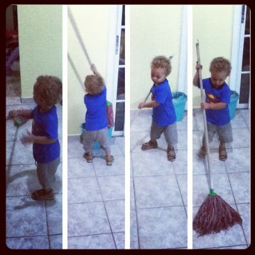 My boy just mopping 😝 #YourHired😁 #Tyler #TJ