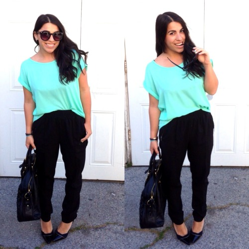 OOTD ft: Teal chiffon top from Balys | Harem silk slacks from Forever 21 | Sunnies from ZeroUV | Large handle bag - gifted | Jeffrey Campbell stilletos All I was missing was some fun costume jewelry. A bauble necklace would have been perfect to fill the negative space on my top. Nonetheless this is a great work attire option for spring. Classy with a pop of color!