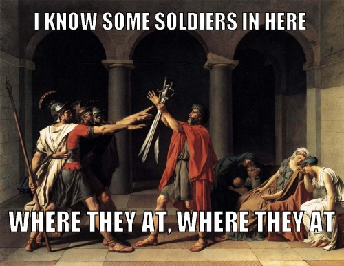 "beyoncearthistory:  Jacques-Louis David, ""Oath of the Horatii""/ Beyonce, ""Soldier""  Credit: David Fried"