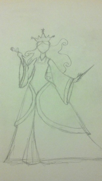Drew my next costume project. Going to break down colors and details later. It's just a basic idea doodle. I have a blond wig a friend of mine curled and I had no use for it but now I do. =D Yeah, I know her hair is crazy. I was playing around. Found out we aren't going to a convention next year since my friend wants to save money so I have two years to work on it. xD