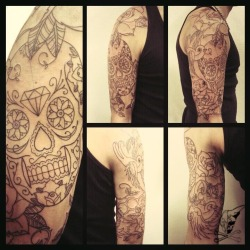 sugar skull tattoo sleeve (outlines) …in progress…