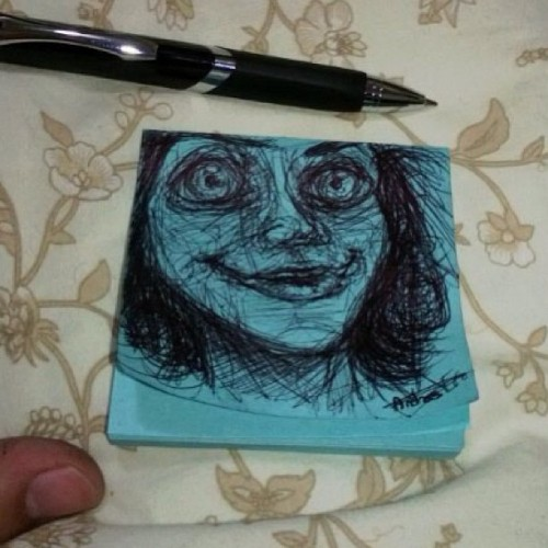 Let me peer into your soul. #myart #postit #creepyface
