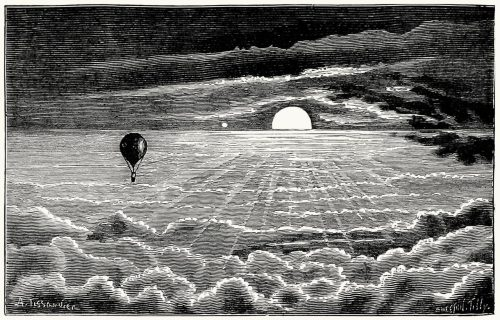 oldbookillustrations:  Twelfth journey. Moon rise above the clouds. 8 o'clock in the evening (altitude 2 400 m) A tissandier, from Histoire de mes ascensions (Story of my balloon ascents), by Gaston Tissandier, Paris, 1880. (Source: archive.org)