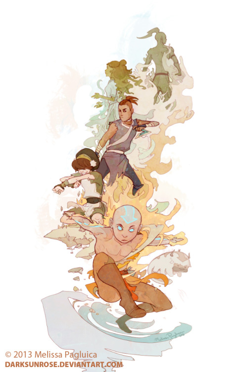 darksunrose:  Aang and the group - tribute by *DarkSunRose Fanart piece created for the upcoming convention, AOD, in San Francisco. I'll be at Hotel Kabuki in artist alley, stop by and say hello!