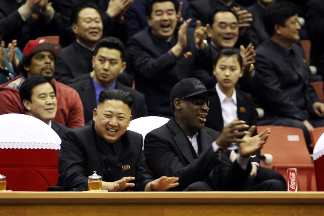 Feb. 28, 2013. North Korean leader Kim Jong-un and former NBA star Dennis Rodman watch an exhibition basketball game in Pyongyang, North Korea. (Photo: Vice/Reuters) See more of the week's best images at TIME LightBox.