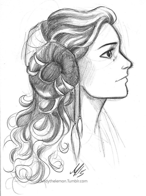 andythelemon:  I just realized I have never drawn Padme before so yeah..had to fix that! Star Wars ladies have the most ridiculous hair ;A;