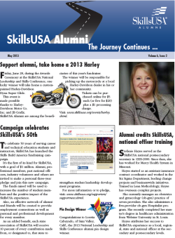 The May 2013 SkillsUSA Alumni & Friends newsletter has been published and can be downloaded here: http://www.skillsusa.org/downloads/PDF/alumninews/May2013.pdf