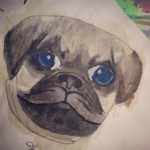 A #painting of a #pug that I did #foreverago.  #watercolor #old #dog #paint #mywork #artwork #art #lol #terrible