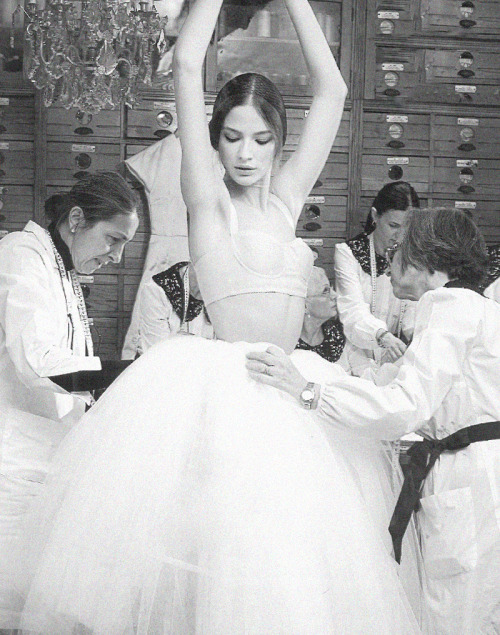 stopdropandvogue:  Backstage at Dolce & Gabbana Alta Moda Spring/Summer 2013 photographed by Domenico Dolce
