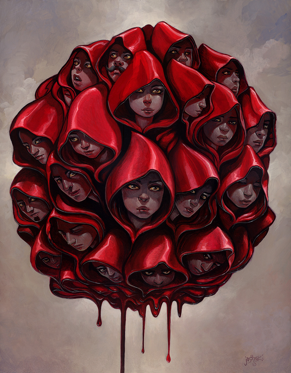 """Red Hooded Sweatshirts"" Original painting available through Gallery 1988- part of ""Is This Thing On Too"" SNL inspired show. This piece was inspired by Adam Sandler's ""Red Hooded Sweatshirt"" song. 16x20 inches. http://nineteeneightyeight.com/collections/is-this-thing-on-2-too"