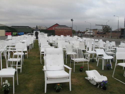 185 white chairs by Christchurch City Libraries on Flickr.Arohanui Christchurch.