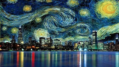art chicago dope Awesome vincent van gogh Van Gogh starry night kik van gough CHI TOWN Chicago skyline