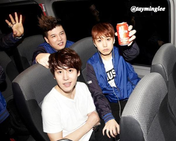 kyumin-addict:  catch #KyuMin moment in the bus during SS5 South America :D  Min's hand clutching on Kyu's knees…. I'M DELUSIONAL AND HAVE NO REGRETS