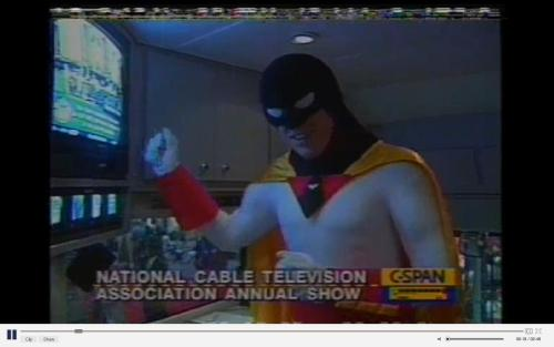 "Back in 1995, C-SPAN interviewed ""Space Ghost"" at the National Cable Television Association Annual Show. It's 2 minutes. Watch it for a  weekend break. http://www.c-spanvideo.org/program/TelevisionAs"