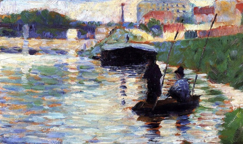 bofransson:  Georges Seurat - The Bridge, View of the Seine; 1882-1883