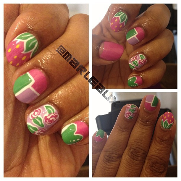 A lil self #nailart. Reverse French, strawberry, color-block (inspired by @stephstonenails), roses and abbreviated hearts. So Spring! #essie
