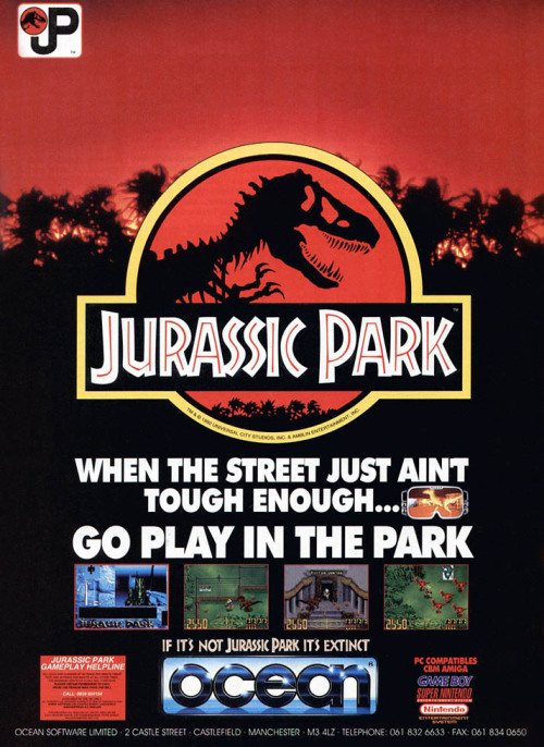 Advert for various Jurassic Park games, including the SNES version.