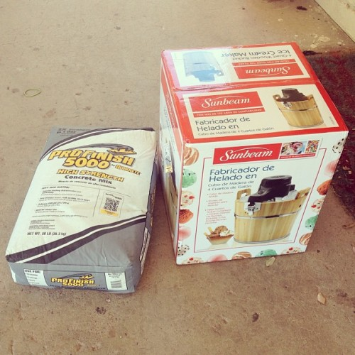 #Weekend impulse purchases: #icecream maker, 80 lbs of #concrete… There goes my Sunday. (at Rita Lane)