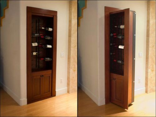 Secret wine rack door