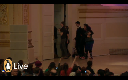 smiletoowide:  Kimya Dawson and Neil Gaiman hugging at Carnegie Hall. Im done.