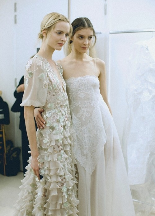 daria strokous and kati nescher backstage at valentino haute couture spring/summer 2013