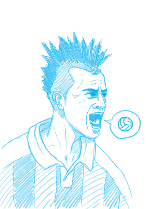 A quick sketch of Stephan El Shaarawy. Preparation for a vector portrait.